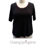 Black round neck tee with Liberty of London bias binding at neck-01