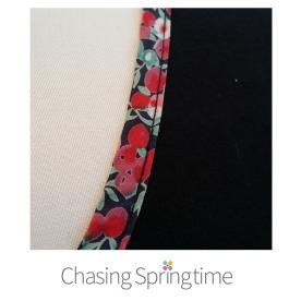 close up of Liberty Tana Lawn bias binding on neck of black tee-01