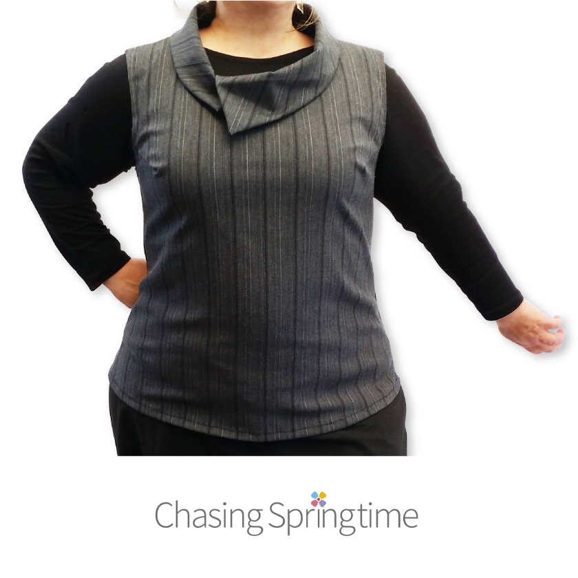 Grey Striped Vest with Collar Sizes 16 to 26 - Chasing Springtime for A Plus and Web-01