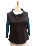 Black Vest with Collar over Teal Boatneck Top-01